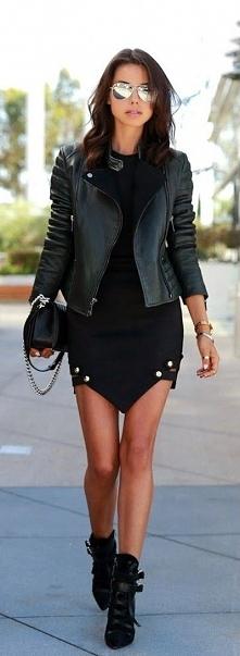 czarna sukienka + skóra