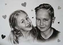 Portret dzieci ręcznie malowany techniką dry brush. Format 42,5X49cm więcej patrycjagustaw@onet.pl