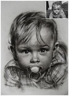 Portret dziecka ręcznie mal...