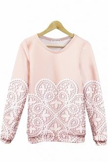 Pudrowa bluza. Piękny wzór i idealny materiał, to prawdziwie słodka bluza. Sp...