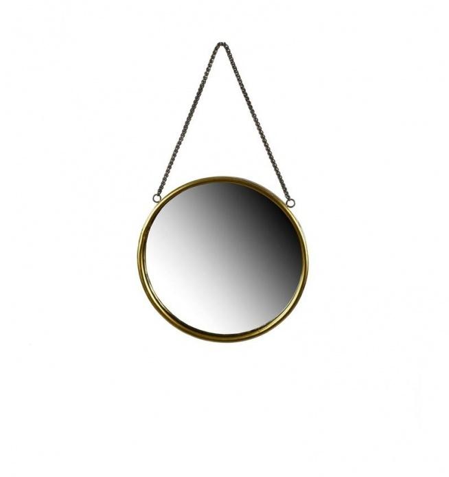 Lustro metalowe okrągłe 40 cm do powieszenia na ścianę na łańcuszku. Rama lustra metalowa w kolorze złotym. Pasuje jako lustro łazienkowe lub lustro na korytarz czy do sypialni. Piękny dodatek dekoracji wnętrza.