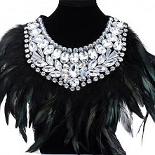 Fashion Rope Chain Gorgeous Glass Feather Big Pendant Statement Choker Necklace