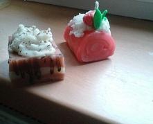 Smakowite Świeczuszki idealne na zimowe wieczory:)  Wuzetka z czekoladą i truskawowa rolada :)