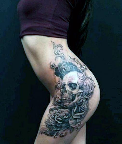 Tatuaże Damskie Na Biodrze Czaszka Na Tatuaże Zszywkapl