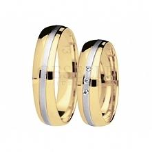 Klasyczna para dwukolorowych obrączek z matową linią z białego złota i trzema brylantami - model z kolekcji You&Me