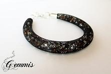 Błyszczące rudo-srebrne kryształki zamknięte w czarnej siatce tworzące urzekającą bransoletkę Szukajcie GEMMIS na fb (dokładny link w komentarzu)