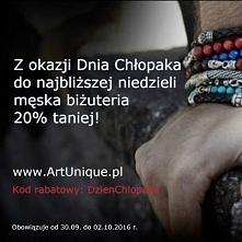 Od dziś do niedzieli rabat -20% na biżuterię męską. Zapraszamy na zakupy :D ARTUNIQUE.PL