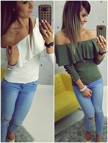 FEMME HISZPANKA ELEGANCE   Piękna i efektowna bluzka typu hiszpanka, fason dopasowany z charakterną falbanką  odrywającą ramiona, Długie rękawy ozdabiają delikatne złote guziki,...