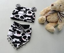 Czapeczkę w pandy z uroczymi uszkami plus chusta z pomponami uszyłam dla nowo...