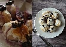 Twarogowe knedle z jagodami, dwie porcje  250g półtłustego twarogu 2 łyżki mleka białko szklanka mąki, z czubem (u mnie pełnoziarnista) płaska łyżeczka soli  nadzienie: ok. szkl...