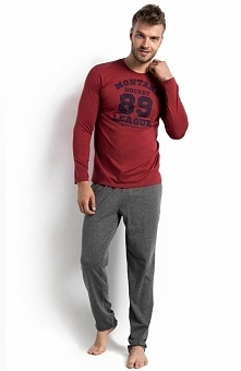 Henderson Bold 34645-83X piżama Elegancka dwuczęściowa piżama, bluzka z długim rękawem, z przodu aplikacja Montana Hokey League