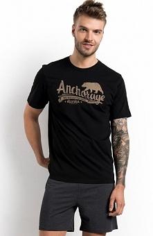 Henderson PJ016 34629-99X piżama Komfortowy dwuczęściowy komplet, utrzymany w czarno-grafitowej kolorystyce, koszulka z krótkim rękawem