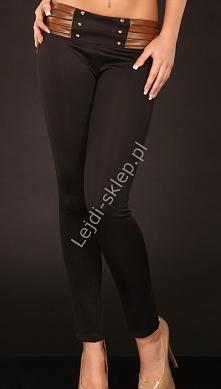 Czarne legginsy z brązową e...