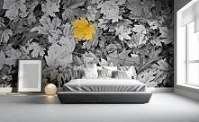 Monochromatyczna fototapeta ze złotym liściem to oryginalna dekoracja eleganckiej sypialni.