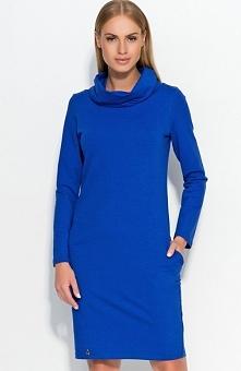 Makadamia M331 sukienka chabrowa Niezwykle komfortowa sukienka, wykonana z wysokiej jakości materiału dresowego, długi rękaw