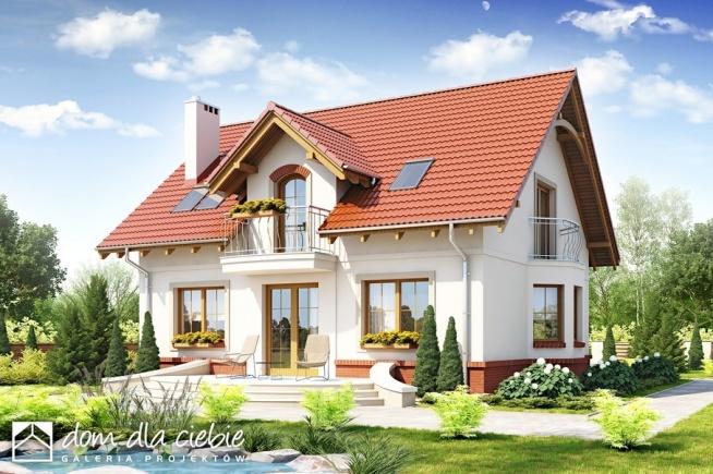 Projekt przepięknego domu Dom Dla Ciebie 1, widok od strony ogrodowej.