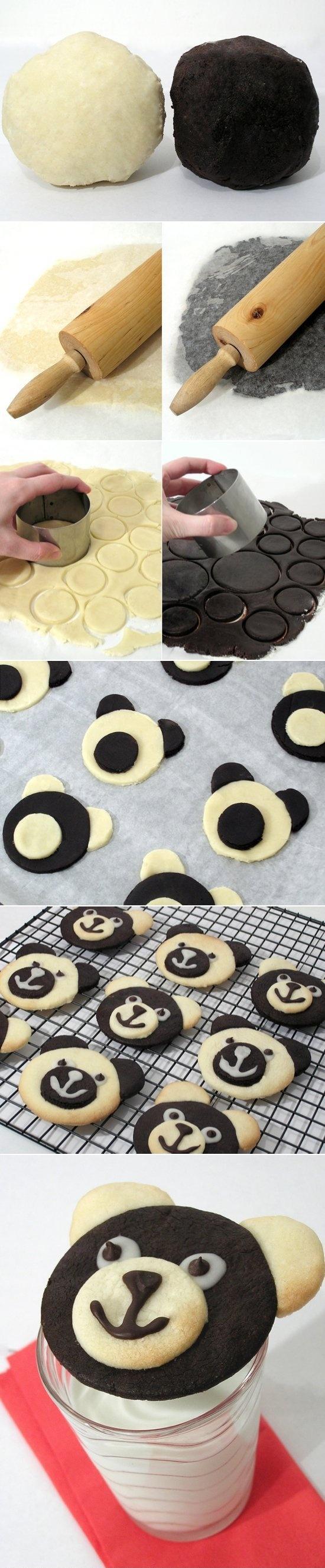 Składniki : 200g masła w temperaturze pokojowej 100g cukru pudru 1 żółtko 1/2 łyżeczki esencji waniliowej 230g mąki 30g ciemnego kakao Miękkie masło ucieramy dokładnie w misce, wsypujemy cukier puder i dalej ucieramy ok 2 minuty. Dodajemy żółtko, esencję waniliową. Na końcu dodajemy mąkę i mieszamy chwilkę mikserem, a następnie zagniatamy rękoma ciasto; jest bardzo miękkie ale takie ma być. Dzielimy na dwie części i do jednej dodajemy kakao. Zawijamy osobno w folię spożywczą i wkładamy na około godzinę do lodówki. Po tym czasie należy podsypując mąką rozwałkować na grubość ok 2-3mm. Z ciasta ciemnego wycinamy kółka szklanką a z jasnego np kieliszkiem 2/1 na jedno duże kółko dwa małe. Duże koła układamy na blaszce wyłożonej papierem do pieczenia, nakładamy jasny pyszczek, a drugi mały przekrawamy nożem i nakładamy uszy Ciasteczka pieczemy w nagrzanym piekarniku do 170st w termoobiegu około 8-10 minut. Kiedy ostygną robimy oczy z lukru i buźkę z czekolady roztopionej w kąpieli wodnej. Oczy też można zrobić z białej czekolady. lukier: 4 łyżeczki cukru pudru utrzeć z odrobiną śmietany dosłownie na czubku łyżeczki; lukier musi być gęsty żeby się nie rozpłynął.