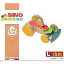 Wyprodukowane we Włoszech Klocki Ludus Toys Rino Spiderino - Wyścigówka dla Dzieci od lat 3.   Zestaw składa się z 8 oddzielnych elementów z drzewa brzozowego oraz 9 kształtek z...