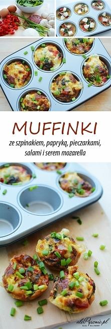 Muffinki z warzywami, salami i serem mozzarella. Kliknij w zdjęcie i zobacz p...