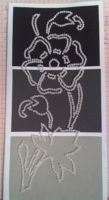 Kartka okolicznościowa, kwiat rysowany koralikami ;)