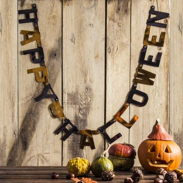 Girlanda / Napis halloweenowy papierowy HAPPY HALLOWEEN