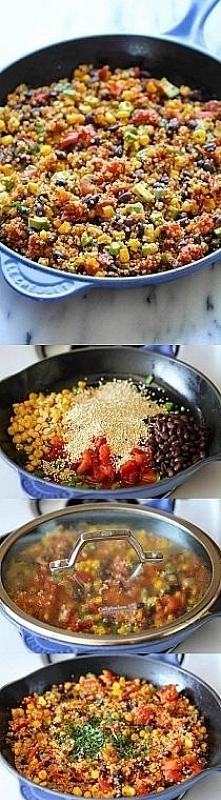 KASZA JAGLANA Z WARZYWAMI Cebulkę, czerwoną fasolkę, szczypiorek, kukurydzę i...