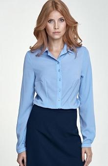 Nife B70 koszula niebieska Elegancka koszula z kołnierzykiem, wykonana z tgładkiej tkaniny, długi rękaw