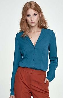 Nife K50 koszula zielona Elegancka koszula damska, z długim rękawem, zapinana z przodu na guziki