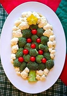 choinka z brokułów i kalafiora