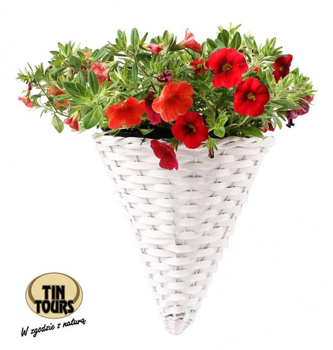 Biały koszyk wiklinowy zawieszany na ścianę na kwiatki od koszyki.net.pl