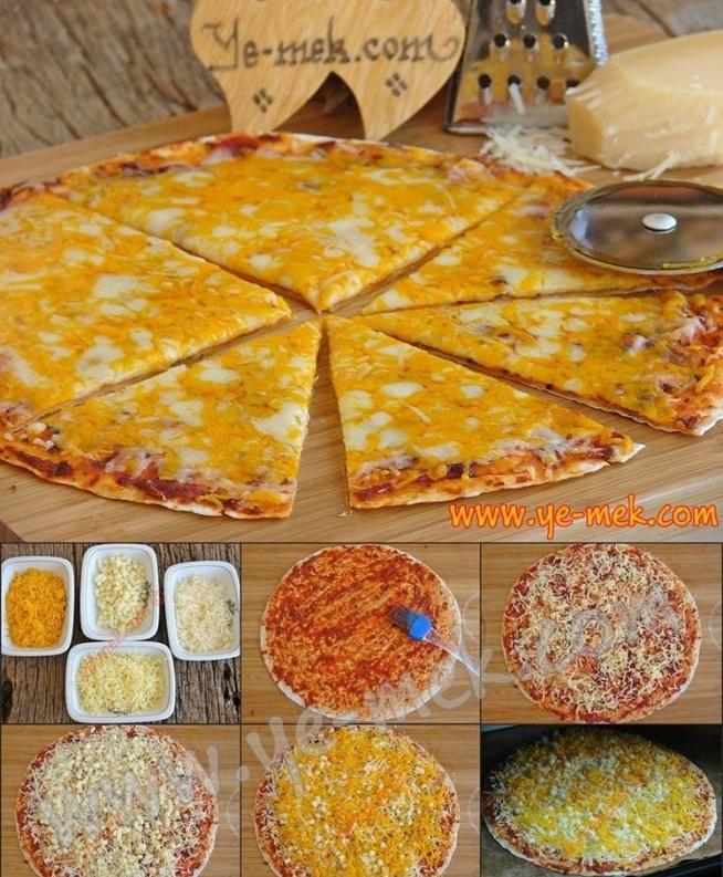"""Pizza 4 sery Niezawodne ciasto na pizzę (na 3 duże pizze o średnicy 28cm): 3 szklanki mąki pszennej 3 łyżeczki świeżych drożdży 1 łyżeczka soli 3/4-1 szklanki letniej wody (tyle ile wchłonie mąka) 1 łyżka + 1 łyżeczka oliwy z oliwek Drożdże zasypujemy połową łyżeczki cukru i zalewamy 1/4 szklanki wody. Odstawiamy na 15 minut, aż się """"ruszą"""". Mieszamy ze sobą mąkę i sól, dodajemy drożdże. Stopniowo dolewamy wodę, wyrabiając gładkie i elastyczne ciasto, które z łatwością będzie odchodzić od rąk. Na koniec dodajemy łyżkę oliwy, ponownie wyrabiamy. Miskę smarujemy łyżeczką oliwy. Z ciasta formujemy kulkę i wsadzamy je do miski. Przykrywamy ściereczką i odstawiamy w ciepłe miejsce do podwojenia objętości na około 1,5 godziny. Sery do wykorzystania: 4 rodzaje sera (np. mozzarella, gouda, feta, pleśniowy Kiedy ciasto jest gotowe rozkładamy je na wyłożonej papierem do pieczenia blasze. Smarujemy koncentratem i doprawiamy bazylią i oregano. Układamy sery. Wstawiamy do piekarnika rozgrzanego do 190 C, z opcją dolnej grzałki, na najniższym poziomie piekarnika. Pieczemy przez ok. 30 minut, aż ładnie się zarumieni. Smacznego : )"""