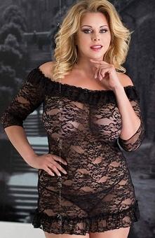 Softline Cloe komplet czarny klasyka i elegancja połączona z drapieżnością, koszulka wykonana z miękkiej koronki, dół wykończony falbanką
