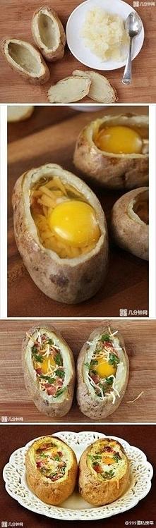 Zapiekane ziemniaki   Ziemniaki Ser żółty jajko salami pietruszka do ozdoby   Ziemniaki pozbawiamy wnętrza, umieszczamy tam pokrojony ser, salami oraz zalewamy to jajkiem. Wkład...