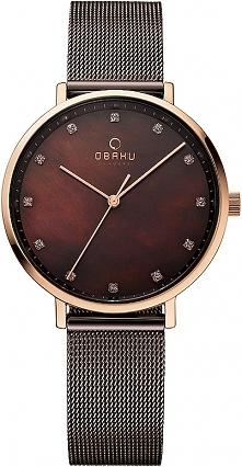 Piękny damski zegarek w kolorze czekolady, wygodne regulowane zapięcie