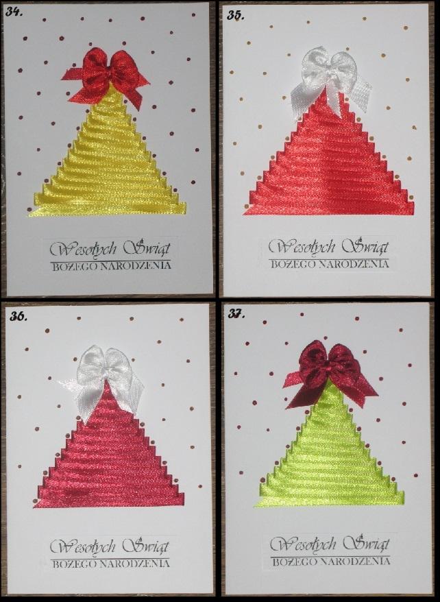 Propozycja kartek świątecznych, format A6. Satynowe wstążki i perełki w żelu, zachęcam do zakupu.