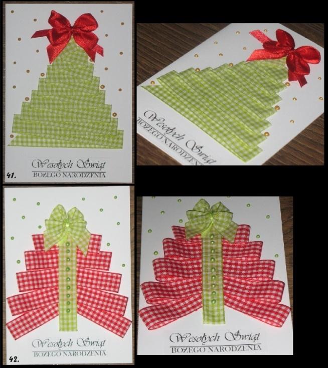 Kartki Bożonarodzeniowe, wykonane z tasiemek w krateczkę, ozdobione perełkami w żelu i kokardą, format A6. Zachęcam do zakupu.