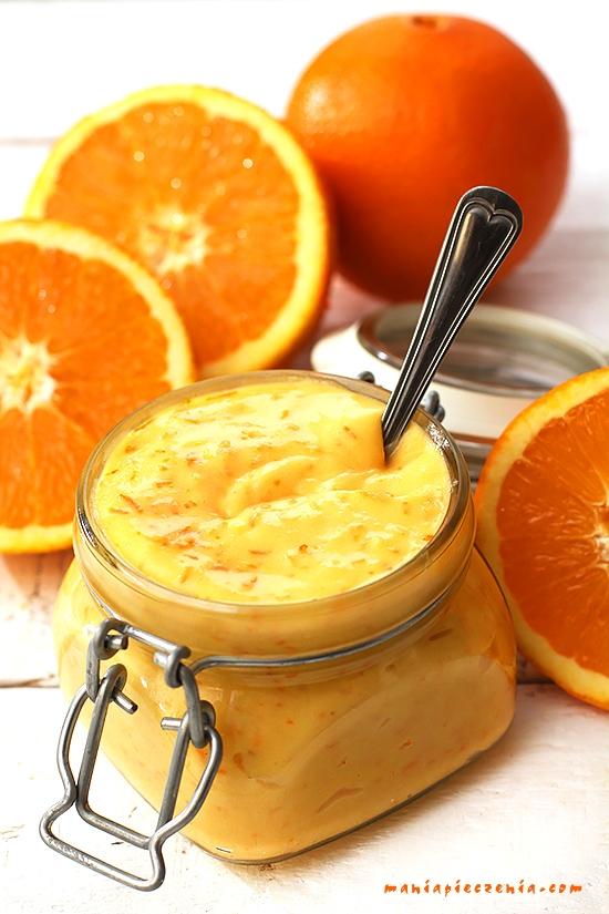 Orange curd - krem pomarańczowy. Wyśmienity do ciast, lodów i wszelkich deserów. Przepis po kliknięciu w zdjęcie maniapieczenia.com