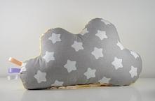 Poduszka chmurka uszyta z bawełny i żółtego minky, wypełnienie antyalergiczne.