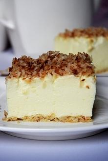 Ciasto śnieżny puch. W smaku przypomina mega lekki sernik, coś a`la ptasie ml...