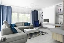 Skandynawski salon z niebieskim akcentem - by Morphina Studio