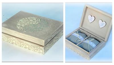 Koronkowe, delikatne pudełko na ślubne obrączki. Możliwość wszelkich modyfikacji, wykonam na indywidualne zamówienie.