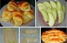 Składniki:  opakowanie ciasta francuskiego  1/2 kg jabłek  cynamon  cukier puder do posypania  tłuszcz do posmarowania blaszki  Ciasto francuskie kroimy na trójkąty, na każdy na...