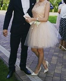 Sukienka - pudrowy róż/brzoskwinia na sprzedaż :)