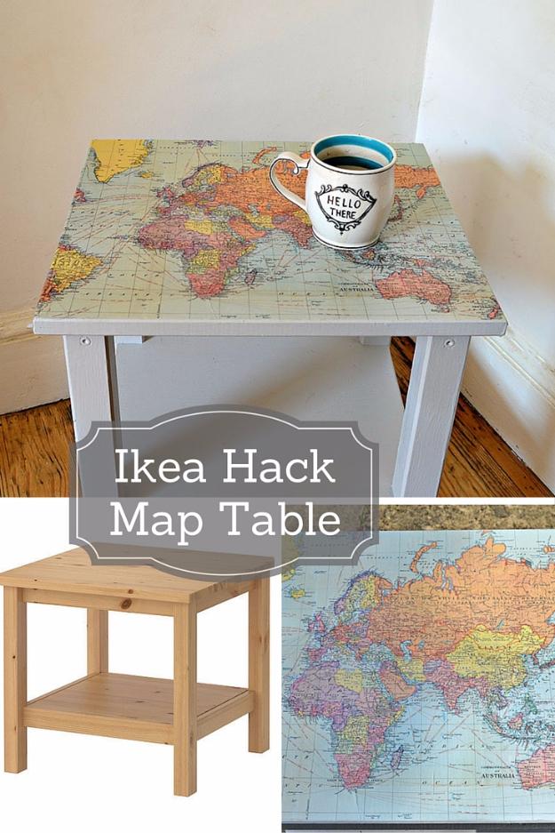 blat stolika z motywem mapy