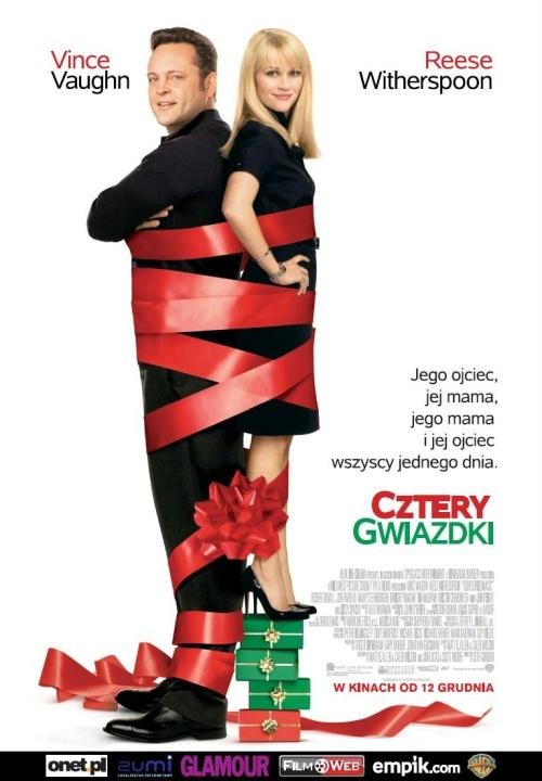 Cztery Gwiazdki(2008)  Jak odwiedzić każdego z rozwiedzionych rodziców młodej pary w czasie świąt Bożego Narodzenia? Tym bardziej, że są to aż cztery nowe rodziny. Z takim właśnie wyzwaniem zmierzą się Reese Witherspoon i Vince Vaughn w filmie Four Christmases.