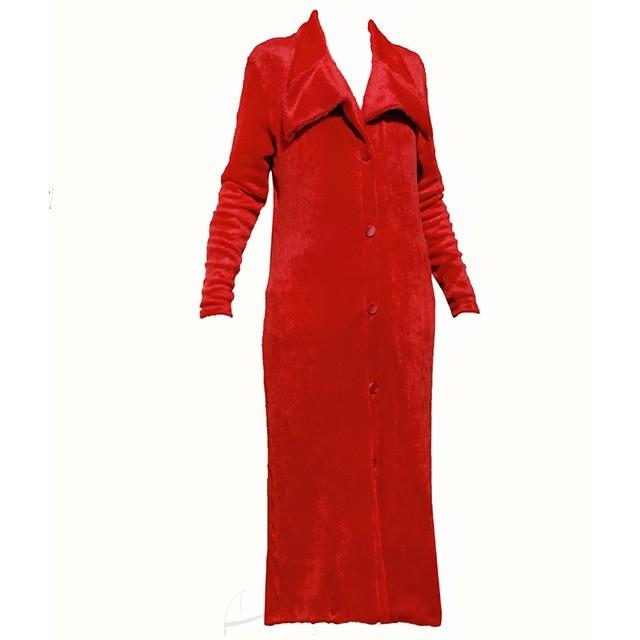 Cieplutki czerwony kardigan midi. Do zakupienia w butiku Łatka fashion.