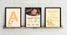 Komplet 3 obrazków do pokoju dziecka. Metryczka, obrazek z pierwszą literą imienia dziecka oraz obrazek z dowolnym napisem. Możliwość dopasowania kolorów.