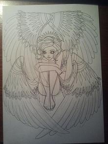 Anioł dla imienniczki :) Jak na razie tylko kontury.