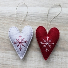 filcowe świąteczne serduszka