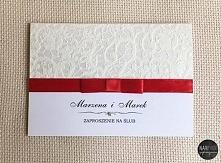 zaproszenie z ozdobnym papierem - koronka i czerwona tasiemka, eleganckie i o...